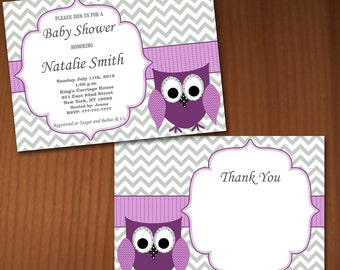Owl Baby Shower Invitation Girl Baby Shower invitations Printable Baby Shower Invites FREE Thank You Card - editable pdf Download 559 violet