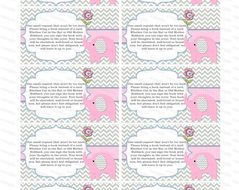 Bring a book insert girl baby shower invitation bring a book instead of card elephant baby shower invitation insert boy baby shower (50ptt)