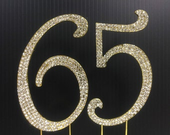 Rhinestone Gold  NUMBER (65) Cake Topper 65th  Birthday Parties FREE SHIPPING