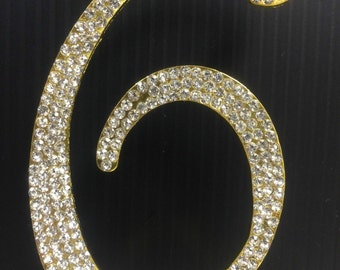 Rhinestone Gold  NUMBER (6) Cake Topper 6th Birthday Parties FREE SHIPPING