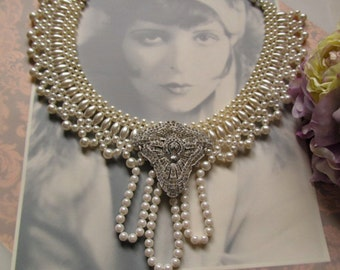 Magnificent Scalloped Pearl Collar featuring Repurposed Vintage Shoe Clip Pendant