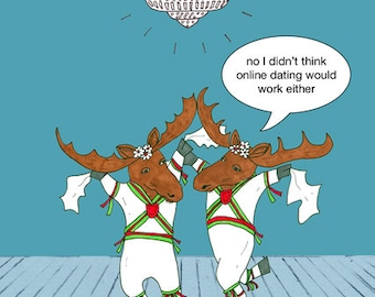 Funny, quirky, morris dancing moose