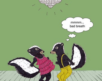 Funny, quirky, dancing skunks card