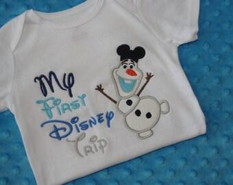 Olaf or Elsa My First Disney Trip Appliquéd Shirt