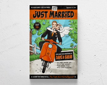 FREE SHIPPING / Custom wedding poster, retro comic, custom couple, comic book wedding, personalized wedding poster, just married