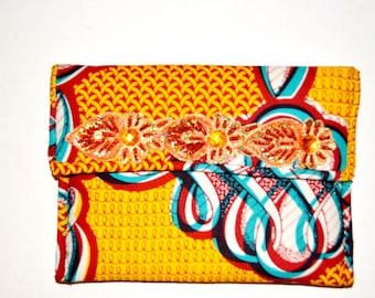 Gift Under 50- Orange And Red Formal Clutch- Women African Ankara Fabric Clutch -Women Party Purse= African Fabric Purse By Zabba Designs