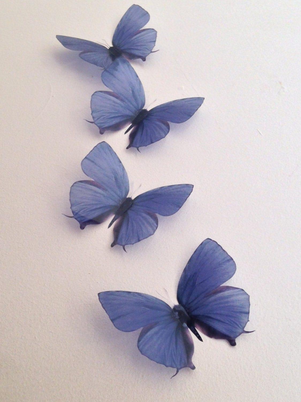 4 Vintage Teal Blue In Flight 3d Butterflies Wall Mounted