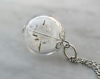 "Dandelion Necklace ,Dandelion Seeds, Glass Orb Necklace,Wish Necklace ""Dreams come true""silver"