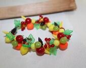 Treasury Vintage Retro Chunky Fruit Salad Bracelet