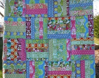 Rag Quilt Throw - Cotton - Soul Blossom fabric collection by Amy Butler - Multi-Color - Ready to Ship