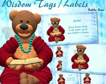"Buddha Bears ""Health"" Wisdom Tags / Labels - Digital Download"