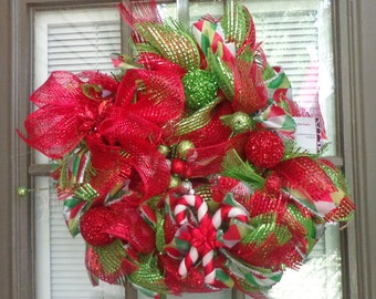 Bright red and green Christmas wreath