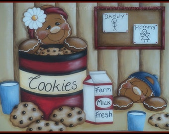Snack Time gingerbread painting pattern packet instant download