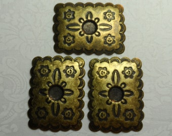 Fancy vintage gold or silver plate etched stamping,convex back,3pcs-KC25