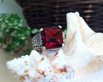 Red CZ Solitaire Sterling Ring-Sz 8