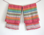 Girls Pink Striped Legwarmers / Upcycled Knit Leggings / Wool leg warmers / Eco friendly teens / 100% recycled / Mint sherbet lime orange