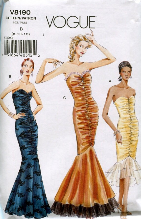 VOGUE DRESS PATTERN Fit & Flare Mermaid Dress Evening ...