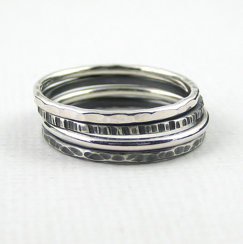 silver stacking rings hammered stacking ring sterling silver