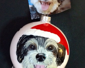 Portrait Pet Dog Cat Ornament Bulb  4""
