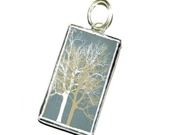 Winter tree II - Tiffany technique - handmade glass pendant