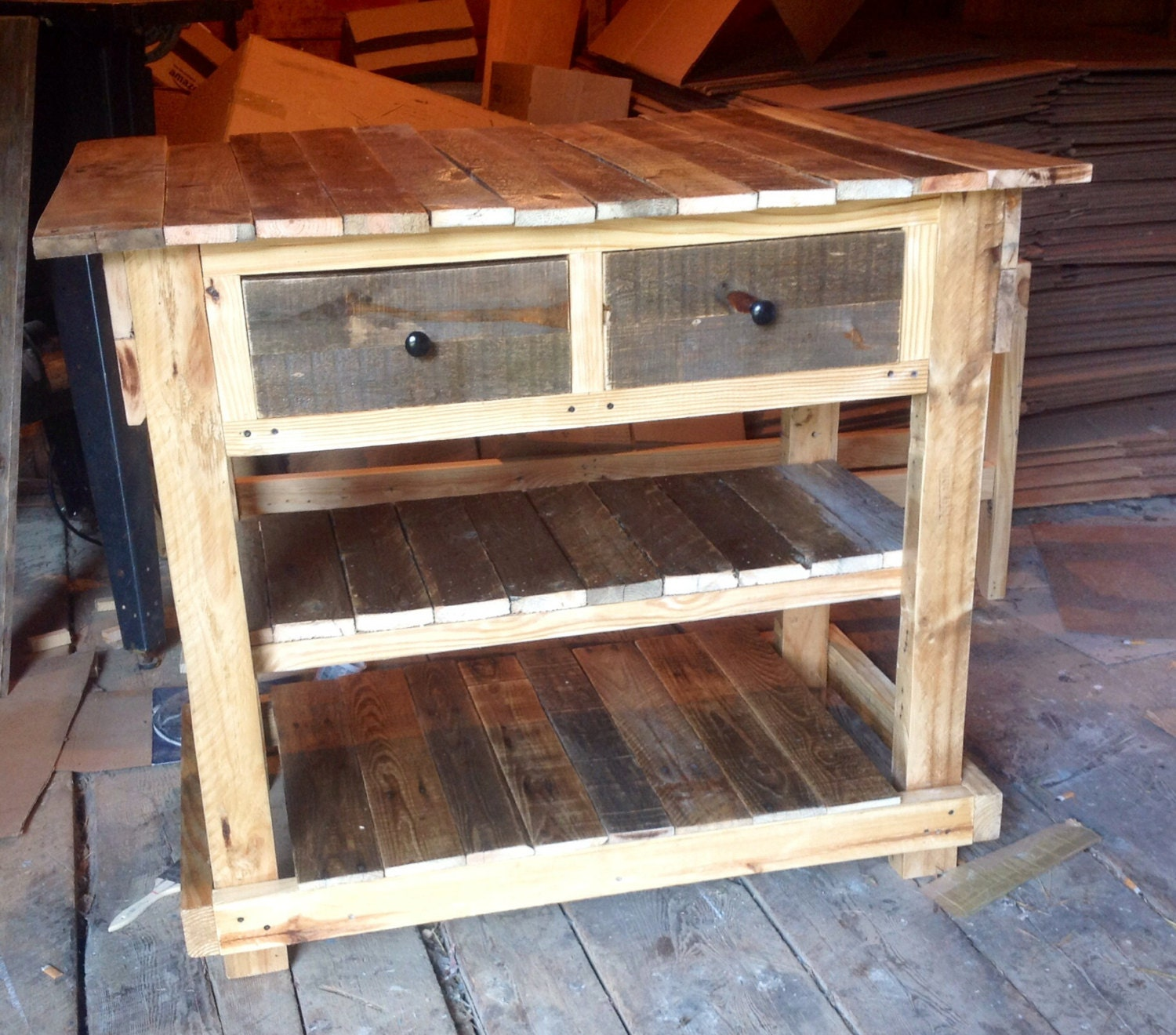 Kitchen Island Out Of Pallets: Rustic Pallet Kitchen Island With Drawers And By SameAsNever