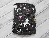 Dancing Unicorns OS Hybrid Fitted Cloth Diaper (Aqua CV) Serged