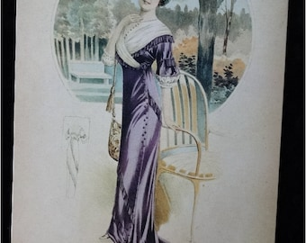 REDUCED ... Vintage Large Art Card for Framing 1913 Fashion A Deauville