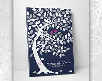 Guest Book Tree - Custom Wedding Guestbook - Wedding Tree Print - 75-100 Guests - Wrapped Canvas - 16x20,20x30 or 24x36 Inches