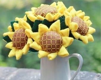 DIY Felt Sunflower Flower Bunch, Thanksgiving, sewing kit, sewing pattern, kids crafts, ShineKidsCrafts