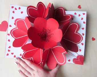 Valentines day pop up card handmade valentines by for Valentines day flowers for him