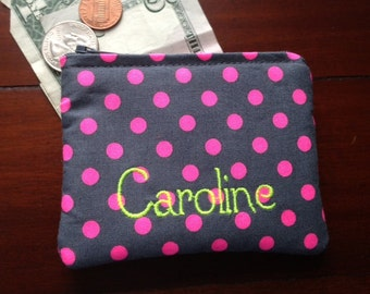 Personalized Coin Purse or Card Case in Neon Pink Polka Dot