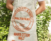 Upcycled Brewer's Orange & White Malt Sack apron with chocolate brown straps