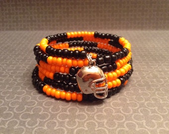 Clearance Sale! Football Black and Orange Memory Wire Bracelet.  5 wraps