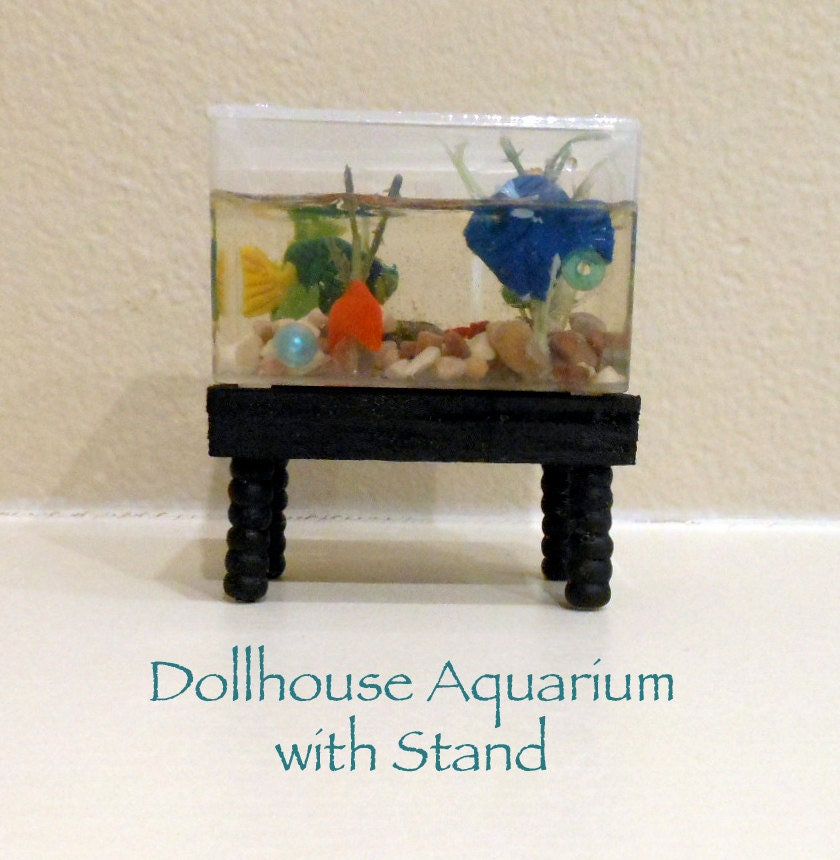 Dollhouse Aquarium Fish Tank With Stand Handmade OOAK 1:12