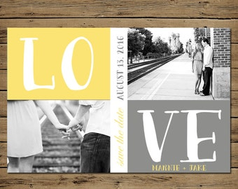 Save the Date Engagement Card - Printable Photo Wedding Announcement - Custom - Grey Yellow