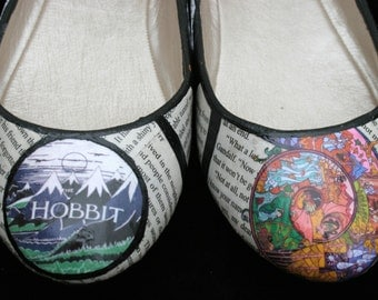 The Hobbit Flats Hobbit Shoes J.R.R. Tolkien Lord of the Rings LOTR Shoes Classic Literature Shoes Book Flats Book Shoes Book Wedding Shoes