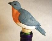 Handmade Bluebird Bottle Stopper Unique Gift Decorative Art Sculpture Wood Carving Barware