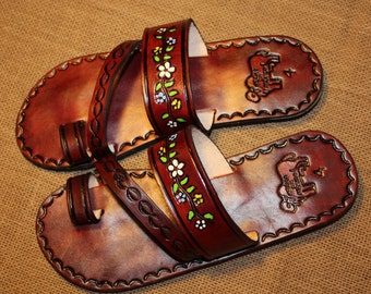 Flowers Brown Leather Mexican Shoes-Flip Flops-Sandals-Hippie-BOHO- Tribal- Shoes- Summer- Handmade Sandals- Huaraches