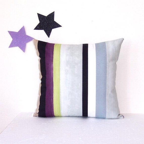 Purple And Gray Decorative Pillows : Purple Grey Green Pillow Cover Decorative Striped by PillowStars