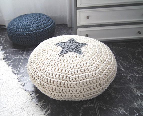 Off White Crochet Pouf-Star Design Crochet Floor Cushions-Nursery Decor-Kids Floor Cushion-Livingroom Furniture- Meditation cushions