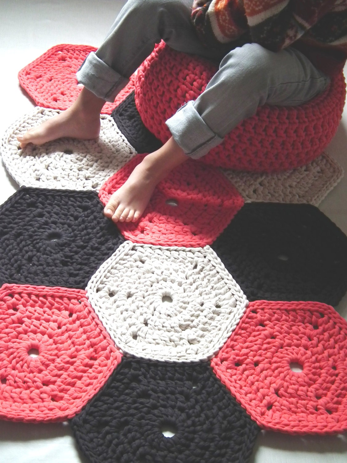 Coral Crochet Rug Colorful Rug Crochet Floor Rug by