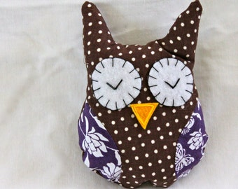Organic Lavender Sachet, Owl Shaped, Purple Wings
