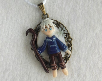 Rise of the Guardians Jack Frost Cameo - Rise of the Guardians Jack Frost Necklace - Polymer Clay Jewelry - Jack Frost Jewelry