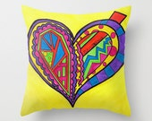 "Vivid Yellow Decorative Pillow for colorful living rooms decor colorful Heart home decor  + FREE 5""x5"" print, Artbyafox"