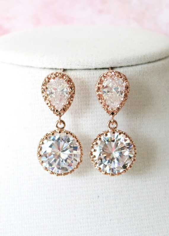Rose Gold Cubic Zirconia Teardrop Earring - gifts for her, earrings, bridal gifts, dangle, pink gold weddings, bridesmaid earrings, Elli