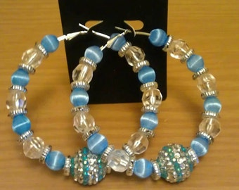 Love and Hip Hop and Basketball wives inspired hoop with blue and transparent beads