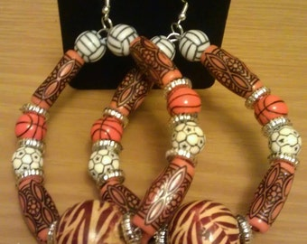 Love and Hip Hop and Basketball wives African inspired earring with printed beads