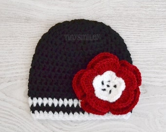 Newborn Hat, Newborn Baby Girl Hat, Black and Red Baby Hat, Flower Baby Girl Hat, Take Home Outfit, Hats for Girls, Crochet Hats for Girls