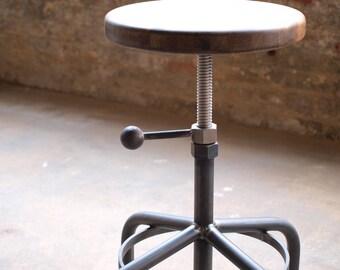 Walnut Industrial Stool Adjustable Drill Press Stool bar stools