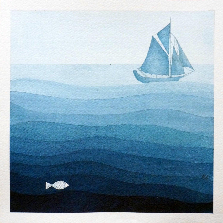 Print Sailboat Illustration Blue Watercolor Painting